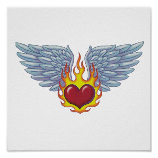 Hells Flames and Angel Wings Poster