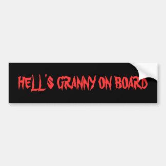 HELL'S GRANNY ON BOARD BUMPER STICKER