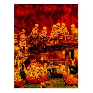 Hellsville Skeletons Vintage Terror Horror Hell Postcard