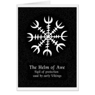 Helm Of Awe Icelandic magical sign - Black Card