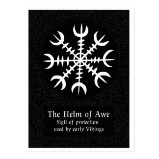 Helm Of Awe Icelandic magical sign - Black Postcard