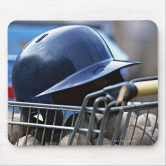 Helmet and Baseball Ball Mouse Pad