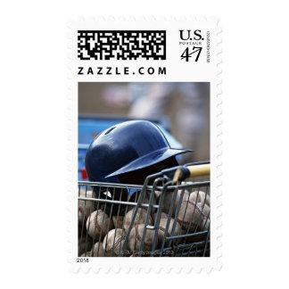 Helmet and Baseball Ball Postage