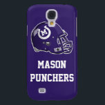 "Helmet and Text iPhone 3/3GS Case<br><div class=""desc"">This case features the Mason Punchers&#39; helmet with customizable text below on a Puncher Purple background.</div>"