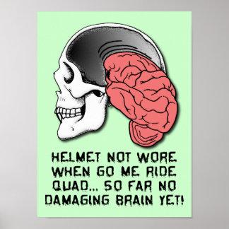 Helmet Brain Damage Funny ATV Quad Poster Sign