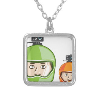 Helmet Camera Silver Plated Necklace