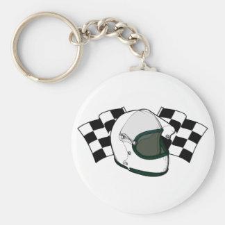 Helmet & Flags Basic Round Button Keychain