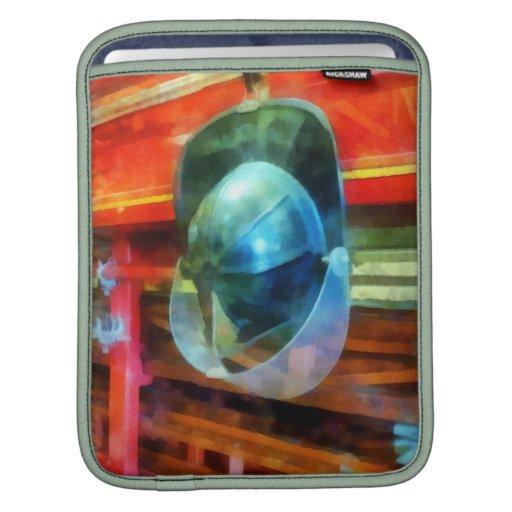 Helmet Hanging on Fire Truck iPad Sleeve
