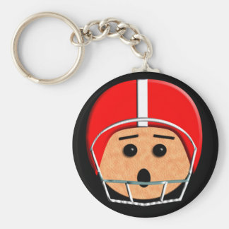 Helmet Head - Red and White - Basic Round Button Keychain