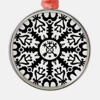 Helmet of awe - Aegishjalmur No. 1 (black) Round Metal Christmas Ornament