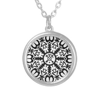 Helmet of awe - Aegishjalmur No. 1 (black) Silver Plated Necklace