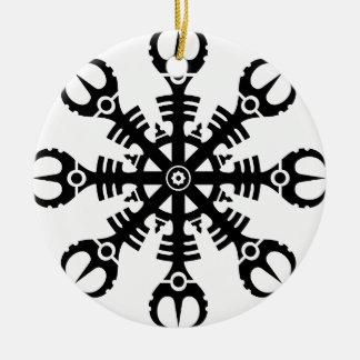 Helmet of awe - Aegishjalmur No.2 (black) Double-Sided Ceramic Round Christmas Ornament