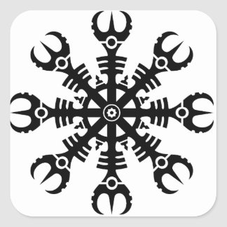 Helmet of awe - Aegishjalmur No.2 (black) Square Sticker