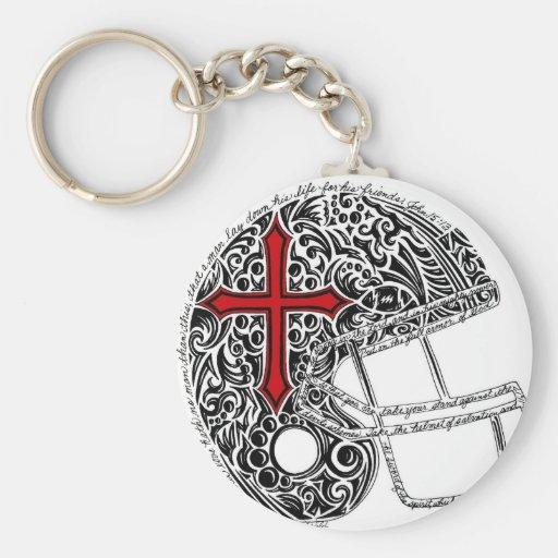 Helmet--red and black (Zazzle) Key Chain