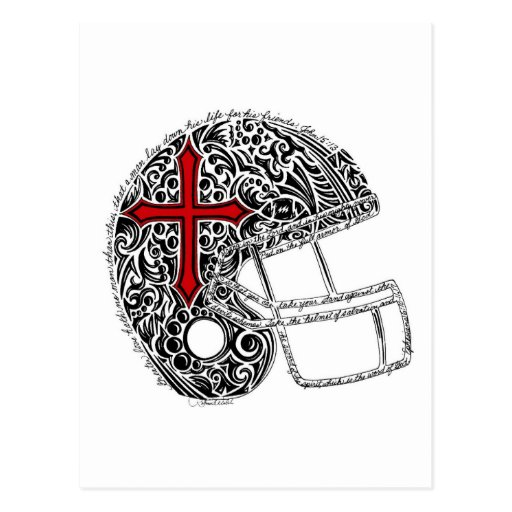 Helmet--red and black (Zazzle) Postcard