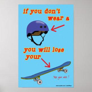 Helmet Safety Skateboarding Poster