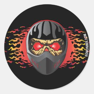 Helmet Skull Classic Round Sticker