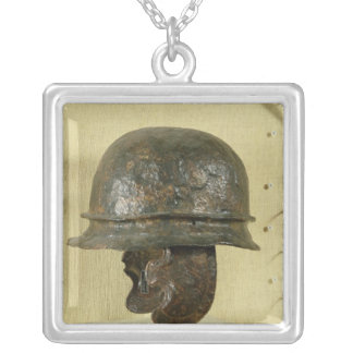 Helmet with cheek guards, from Alesia, Tene III Square Pendant Necklace