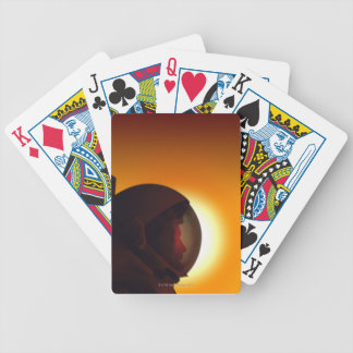 Helmeted Astronaut Against the Sun Bicycle Playing Cards