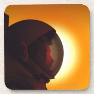 Helmeted Astronaut Against the Sun Coaster