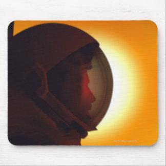 Helmeted Astronaut Against the Sun Mouse Pad