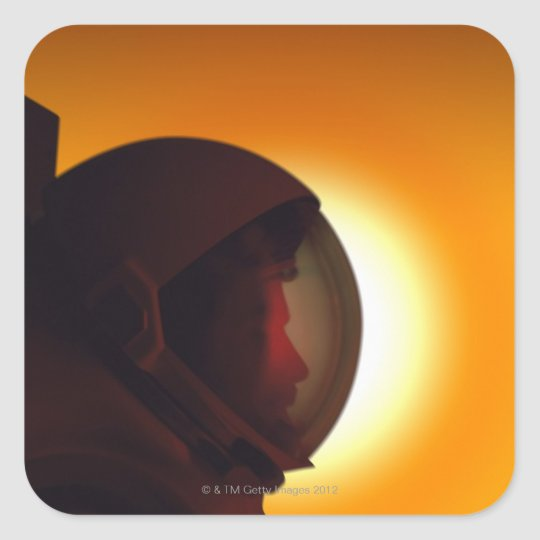 Helmeted Astronaut Against the Sun Square Sticker