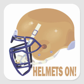 Helmets On Square Sticker
