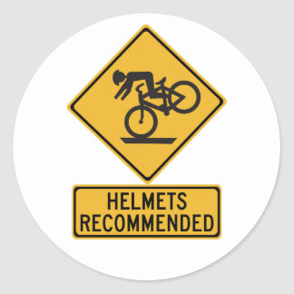 Helmets Recommended 2, Traffic Warning Sign, USA Classic Round Sticker