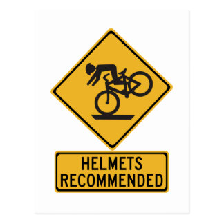 Helmets Recommended 2, Traffic Warning Sign, USA Postcard