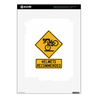 Helmets Recommended 2, Traffic Warning Sign, USA Decal For iPad 3