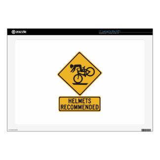 "Helmets Recommended 2, Traffic Warning Sign, USA Skins For 17"" Laptops"
