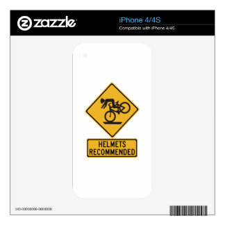 Helmets Recommended 2, Traffic Warning Sign, USA Decal For The iPhone 4S