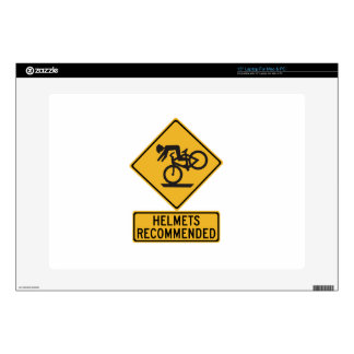 """Helmets Recommended 2, Traffic Warning Sign, USA Decals For 15"""" Laptops"""