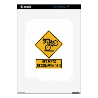 Helmets Recommended 2, Traffic Warning Sign, USA Decal For The iPad 2
