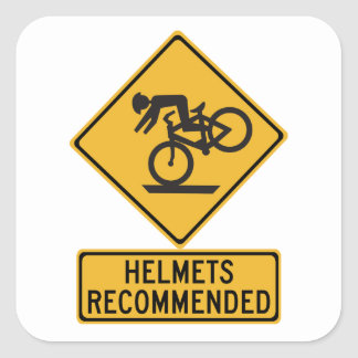 Helmets Recommended 2, Traffic Warning Sign, USA Square Sticker