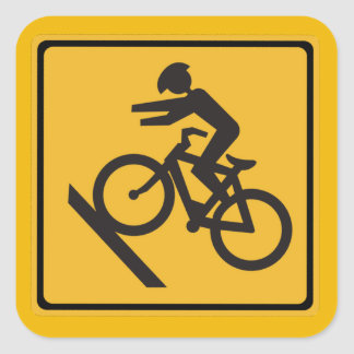 Helmets Recommended, Traffic Warning Signs, USA Square Sticker