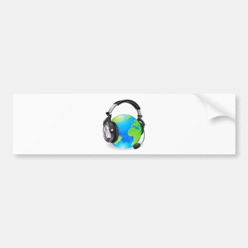 Help desk headset world globe bumper stickers