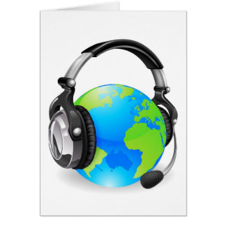 Help desk headset world globe cards