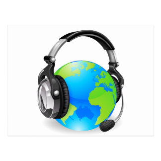 Help desk headset world globe post card