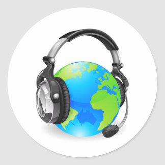 Help desk headset world globe classic round sticker