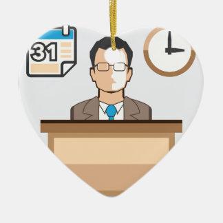 Help desk Man Calendar and Clock Vector Icon Ceramic Ornament