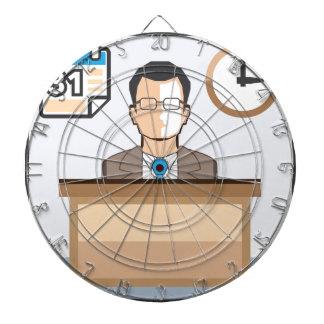 Help desk Man Calendar and Clock Vector Icon Dart Board