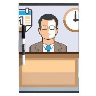 Help desk Man Calendar and Clock Vector Icon Dry Erase Board