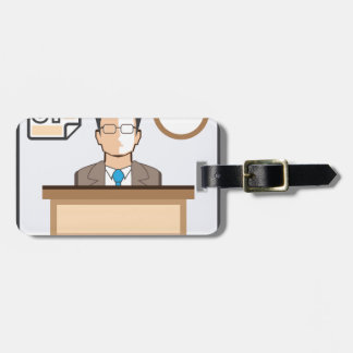 Help desk Man Calendar and Clock Vector Icon Luggage Tag