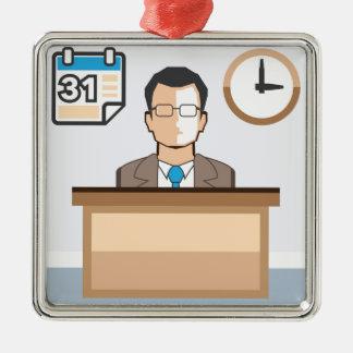 Help desk Man Calendar and Clock Vector Icon Metal Ornament