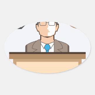 Help desk Man Calendar and Clock Vector Icon Oval Sticker