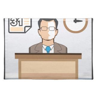 Help desk Man Calendar and Clock Vector Icon Placemat