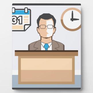 Help desk Man Calendar and Clock Vector Icon Plaque