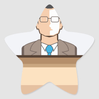 Help desk Man Calendar and Clock Vector Icon Star Sticker