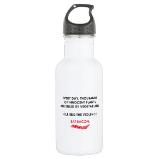 Help End The Violence. Eat Bacon. 18oz Water Bottle